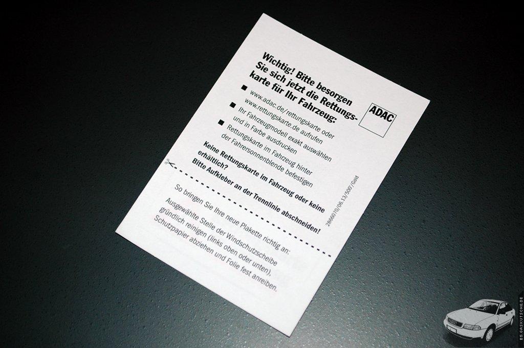 B5gaskutschede Rettungskarte Mit Hinweisaufkleber Vom Adac